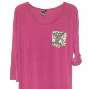 Rue 21 Womens Burgundy/MaroonT-Shirt Blouse Size L